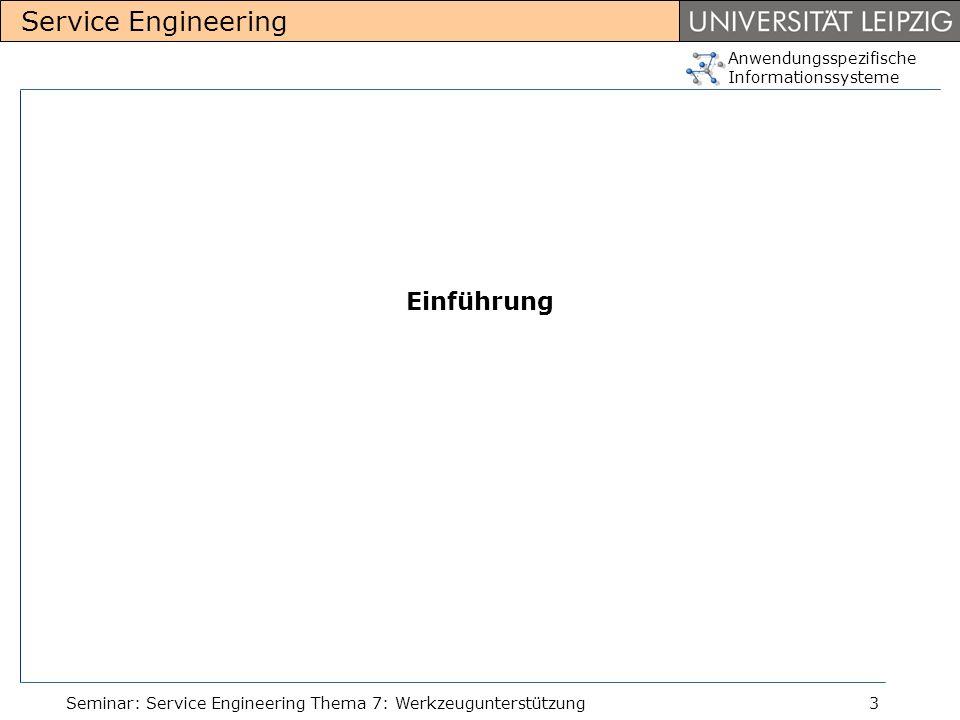 Anwendungsspezifische Informationssysteme Service Engineering Seminar: Service Engineering Thema 7: Werkzeugunterstützung3 Einführung