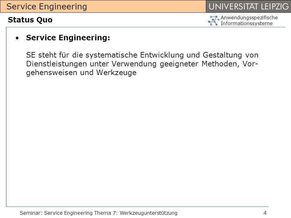 Anwendungsspezifische Informationssysteme Service Engineering Seminar: Service Engineering Thema 7: Werkzeugunterstützung4 Status Quo Service Engineer