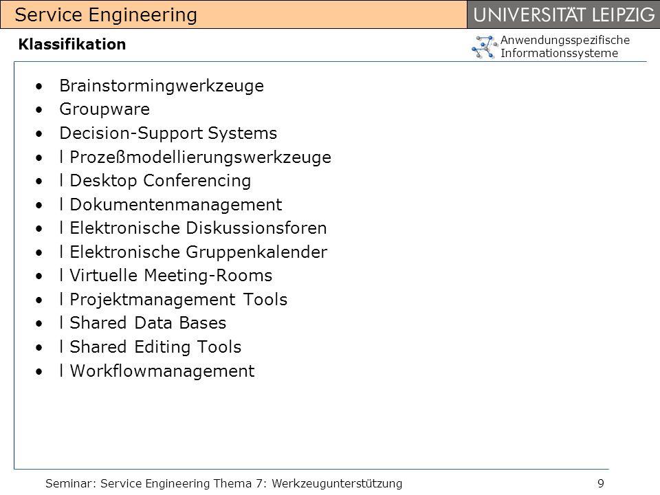 Anwendungsspezifische Informationssysteme Service Engineering Seminar: Service Engineering Thema 7: Werkzeugunterstützung9 Klassifikation Brainstormin