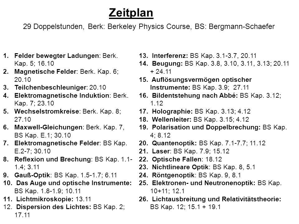 29 Doppelstunden, Berk: Berkeley Physics Course, BS: Bergmann-Schaefer 1.Felder bewegter Ladungen: Berk. Kap. 5; 16.10 2.Magnetische Felder: Berk. Kap