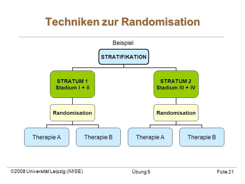 ©2008 Universität Leipzig (IMISE) Übung 5Folie 21 Techniken zur Randomisation Beispiel