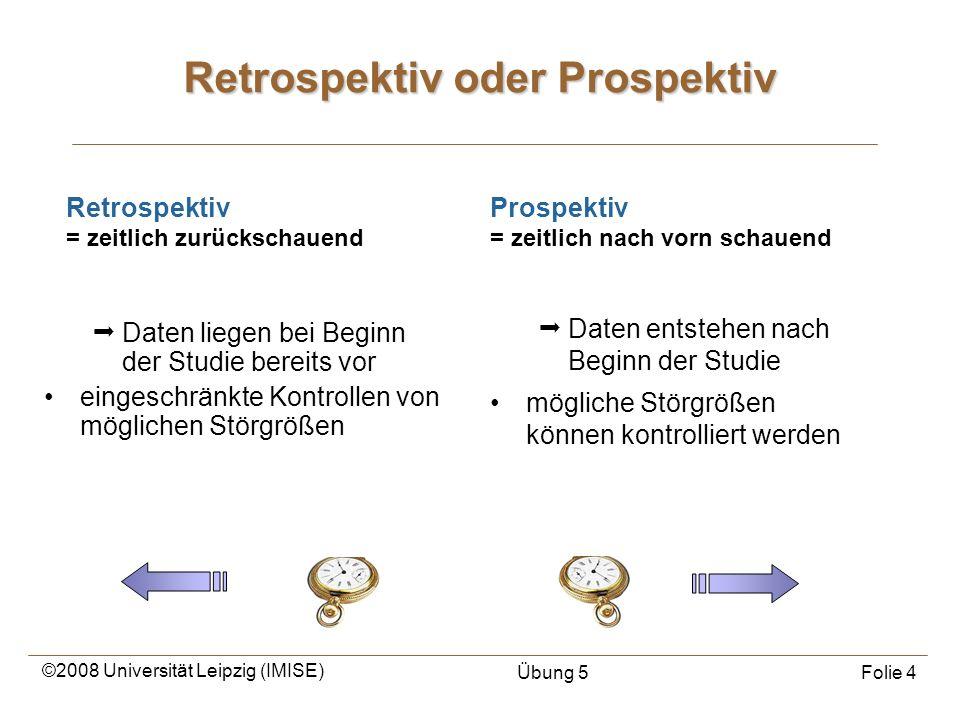 ©2008 Universität Leipzig (IMISE) Übung 5Folie 4 Retrospektiv oder Prospektiv Daten entstehen nach Beginn der Studie mögliche Störgrößen können kontro