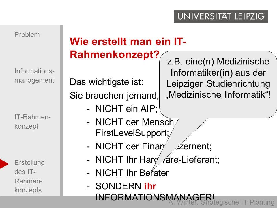 A. Winter: Strategische IT-Planung Problem Informations- management IT-Rahmen- konzept Erstellung des IT- Rahmen- konzepts Wie erstellt man ein IT- Ra