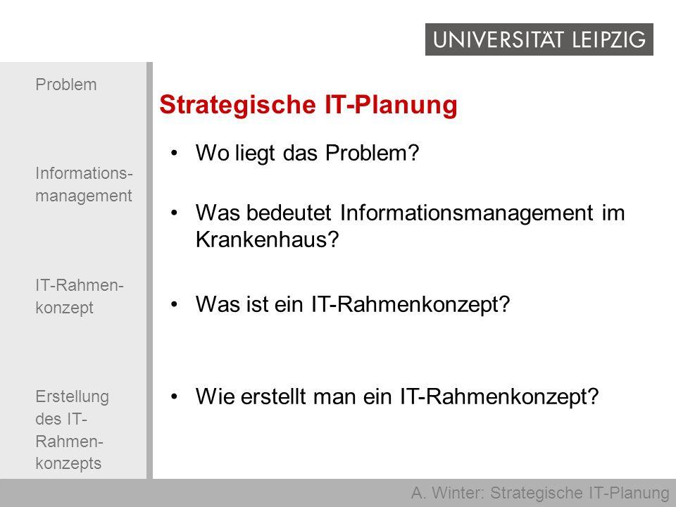 A. Winter: Strategische IT-Planung Problem Informations- management IT-Rahmen- konzept Erstellung des IT- Rahmen- konzepts Wo liegt das Problem? Was b