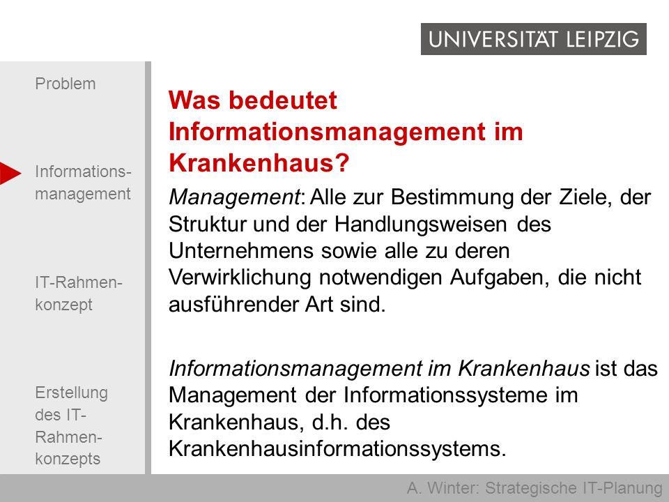A. Winter: Strategische IT-Planung Problem Informations- management IT-Rahmen- konzept Erstellung des IT- Rahmen- konzepts Was bedeutet Informationsma