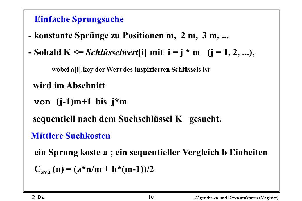 R. Der Algorithmen und Datenstrukturen (Magister) 10 Einfache Sprungsuche - konstante Sprünge zu Positionen m, 2 m, 3 m,... - Sobald K <= Schlüsselwer
