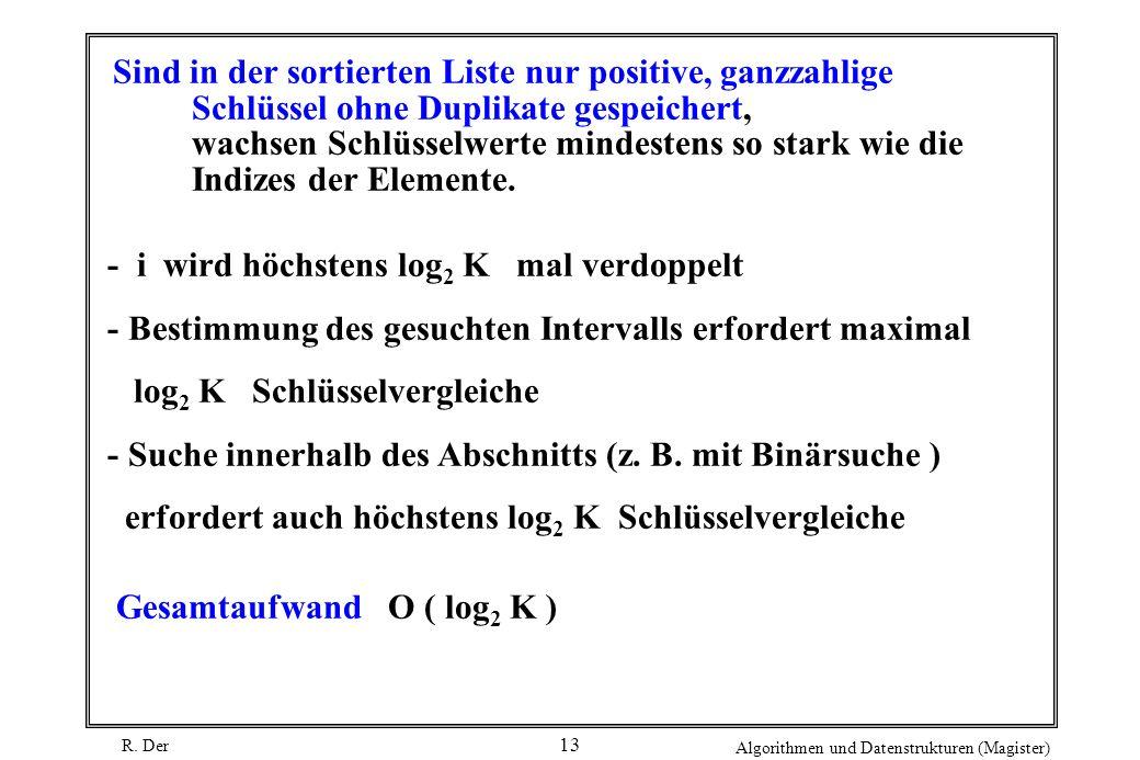 R. Der Algorithmen und Datenstrukturen (Magister) 13 Sind in der sortierten Liste nur positive, ganzzahlige Schlüssel ohne Duplikate gespeichert, wach