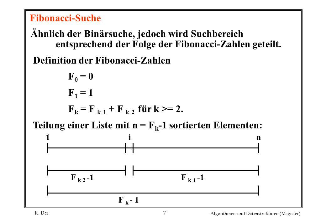 R. Der Algorithmen und Datenstrukturen (Magister) 7 Fibonacci-Suche Ähnlich der Binärsuche, jedoch wird Suchbereich entsprechend der Folge der Fibonac