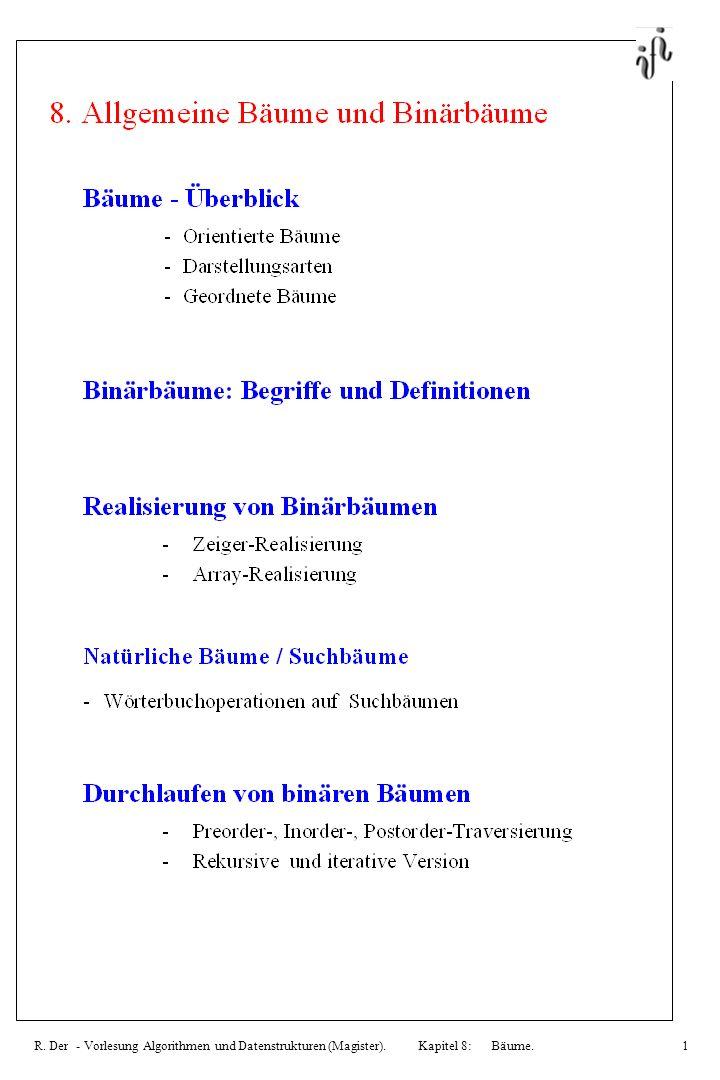 R. Der - Vorlesung Algorithmen und Datenstrukturen (Magister). Kapitel 8: Bäume.1