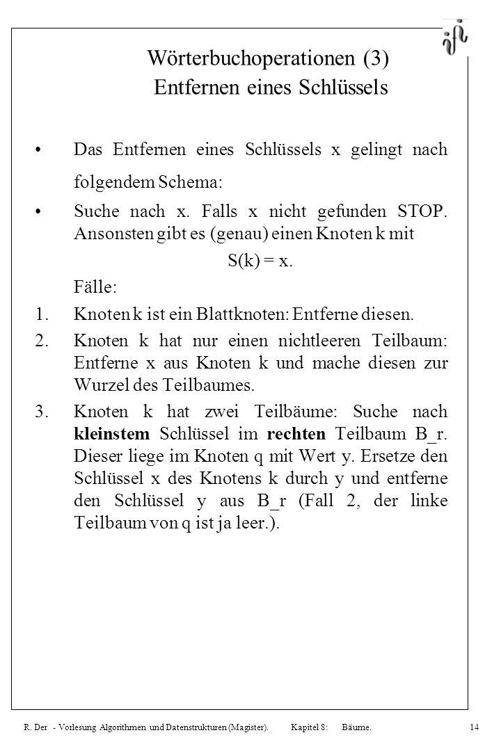 R. Der - Vorlesung Algorithmen und Datenstrukturen (Magister). Kapitel 8: Bäume.14 Wörterbuchoperationen (3) Entfernen eines Schlüssels Das Entfernen