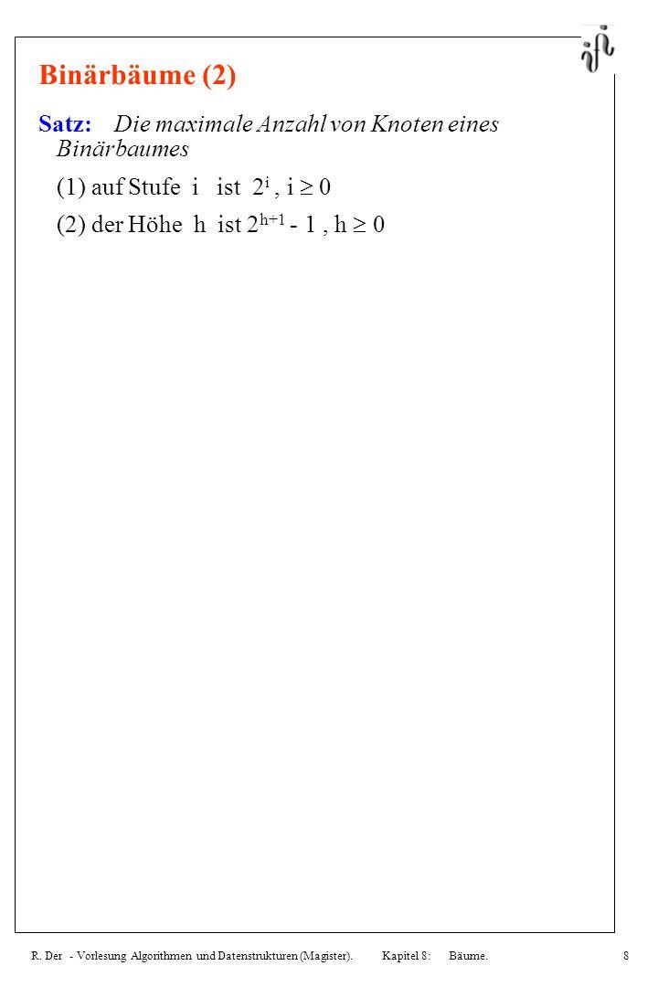 R. Der - Vorlesung Algorithmen und Datenstrukturen (Magister). Kapitel 8: Bäume.8 Binärbäume (2) Satz: Die maximale Anzahl von Knoten eines Binärbaume