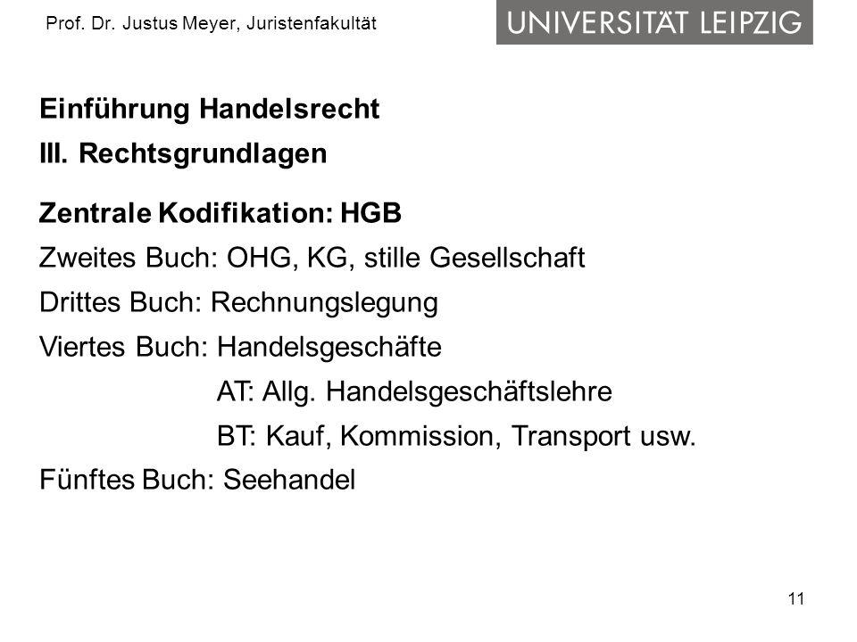 11 Prof. Dr. Justus Meyer, Juristenfakultät Einführung Handelsrecht III. Rechtsgrundlagen Zentrale Kodifikation: HGB Zweites Buch: OHG, KG, stille Ges