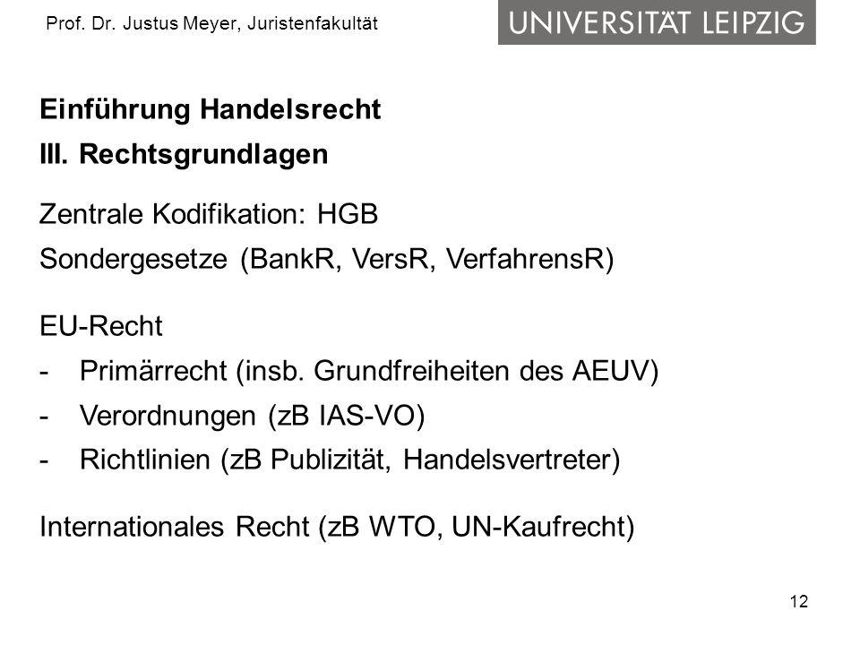 12 Prof. Dr. Justus Meyer, Juristenfakultät Einführung Handelsrecht III. Rechtsgrundlagen Zentrale Kodifikation: HGB Sondergesetze (BankR, VersR, Verf