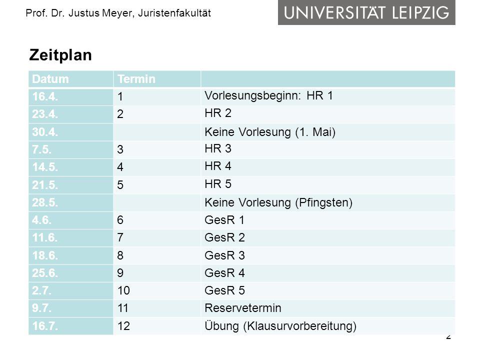 2 Prof. Dr. Justus Meyer, Juristenfakultät Zeitplan DatumTermin 16.4.1 Vorlesungsbeginn: HR 1 23.4.2 HR 2 30.4. Keine Vorlesung (1. Mai) 7.5.3 HR 3 14