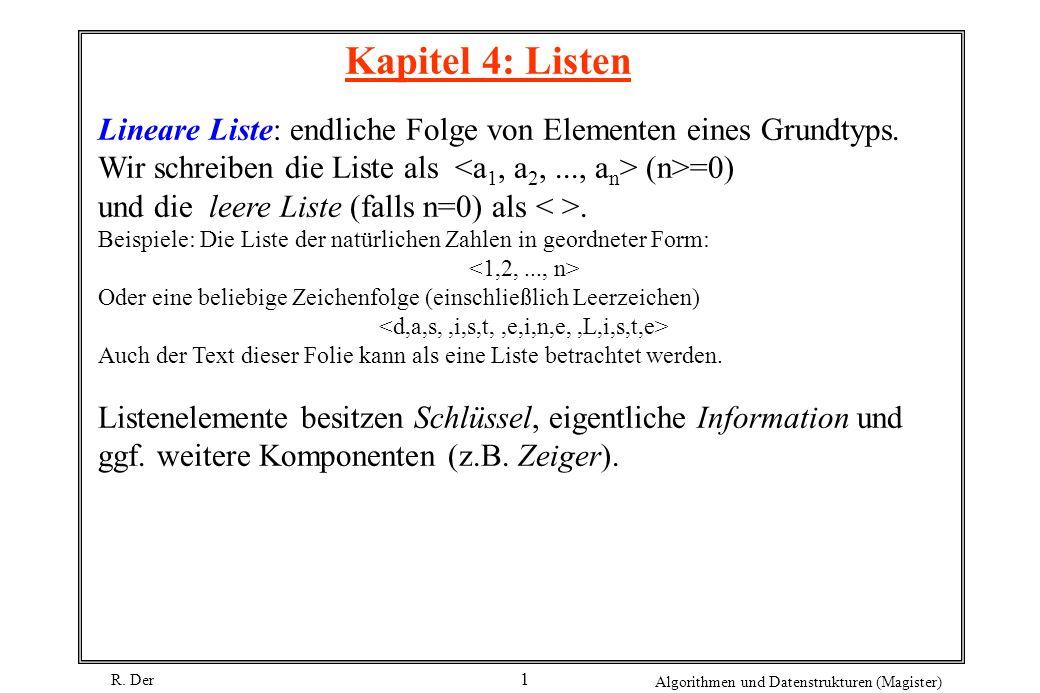 R. Der Algorithmen und Datenstrukturen (Magister) 1 Kapitel 4: Listen Lineare Liste: endliche Folge von Elementen eines Grundtyps. Wir schreiben die L