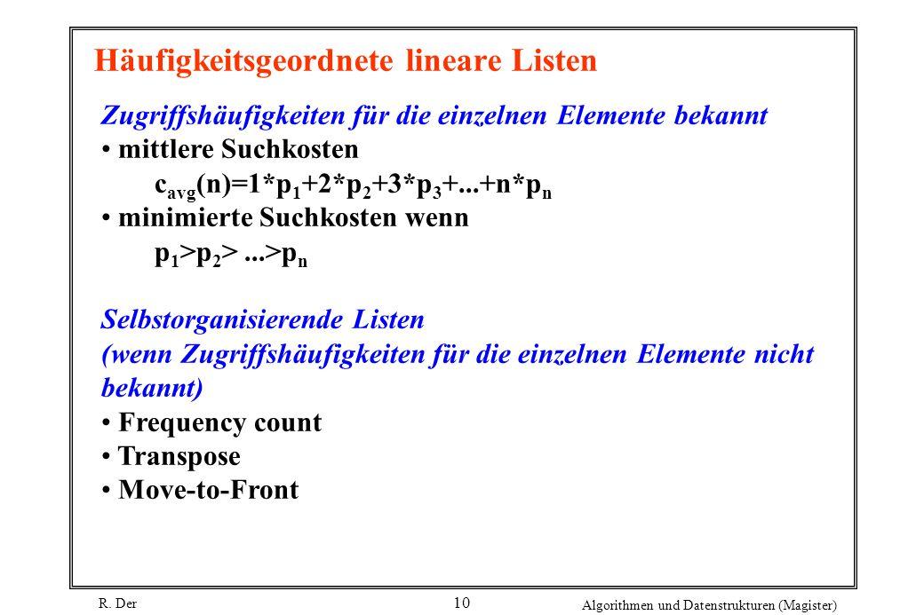 R. Der Algorithmen und Datenstrukturen (Magister) 10 Häufigkeitsgeordnete lineare Listen Zugriffshäufigkeiten für die einzelnen Elemente bekannt mittl