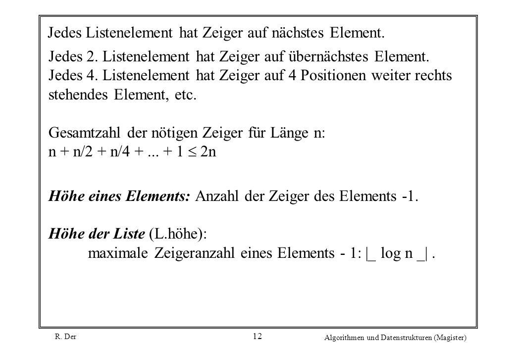 R. Der Algorithmen und Datenstrukturen (Magister) 12 Jedes Listenelement hat Zeiger auf nächstes Element. Jedes 2. Listenelement hat Zeiger auf übernä