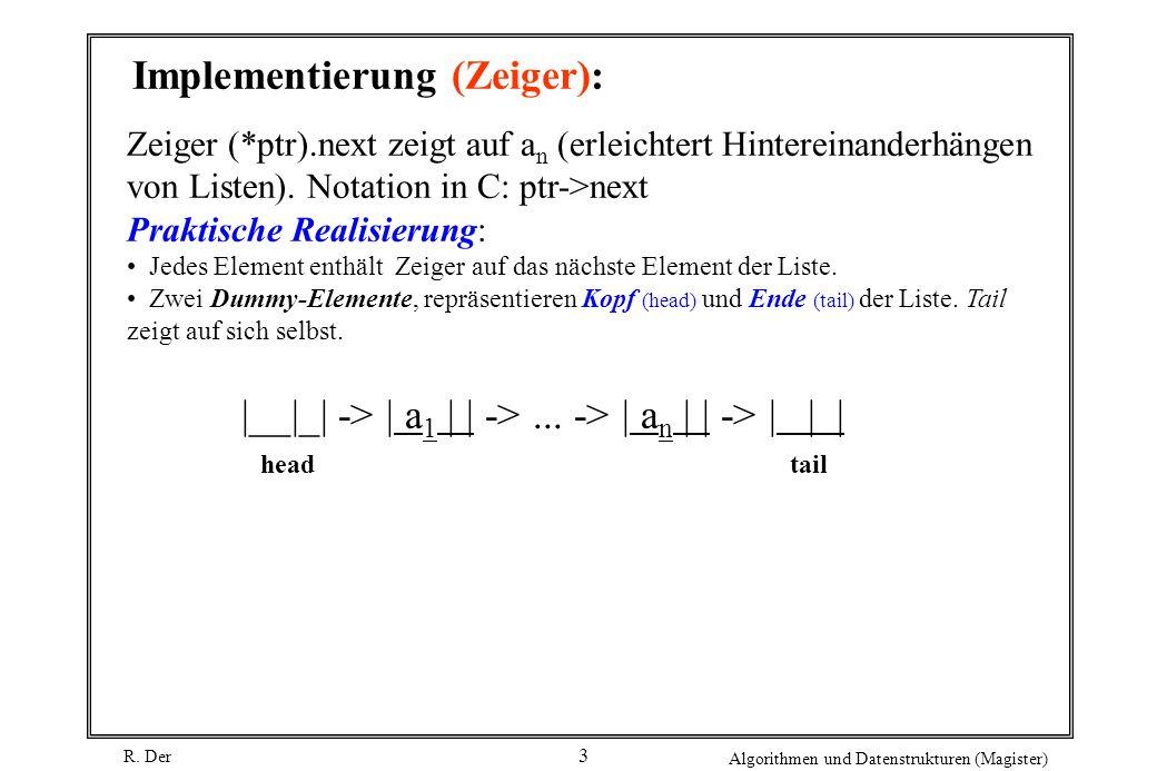 R. Der Algorithmen und Datenstrukturen (Magister) 3 Implementierung (Zeiger): Zeiger (*ptr).next zeigt auf a n (erleichtert Hintereinanderhängen von L