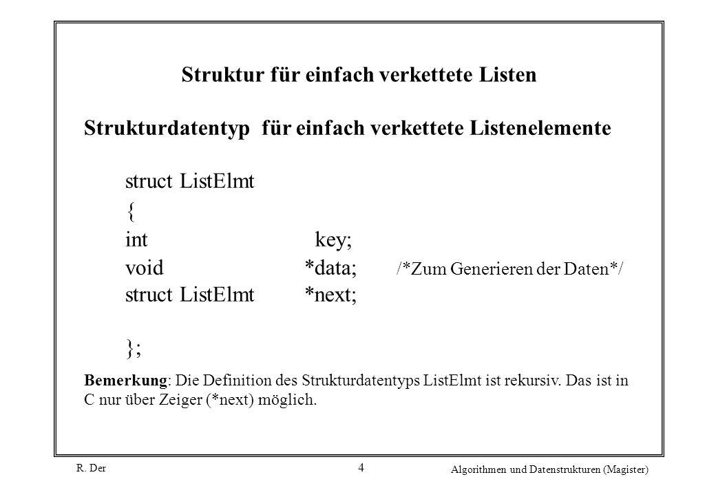 R. Der Algorithmen und Datenstrukturen (Magister) 4 Struktur für einfach verkettete Listen Strukturdatentyp für einfach verkettete Listenelemente stru