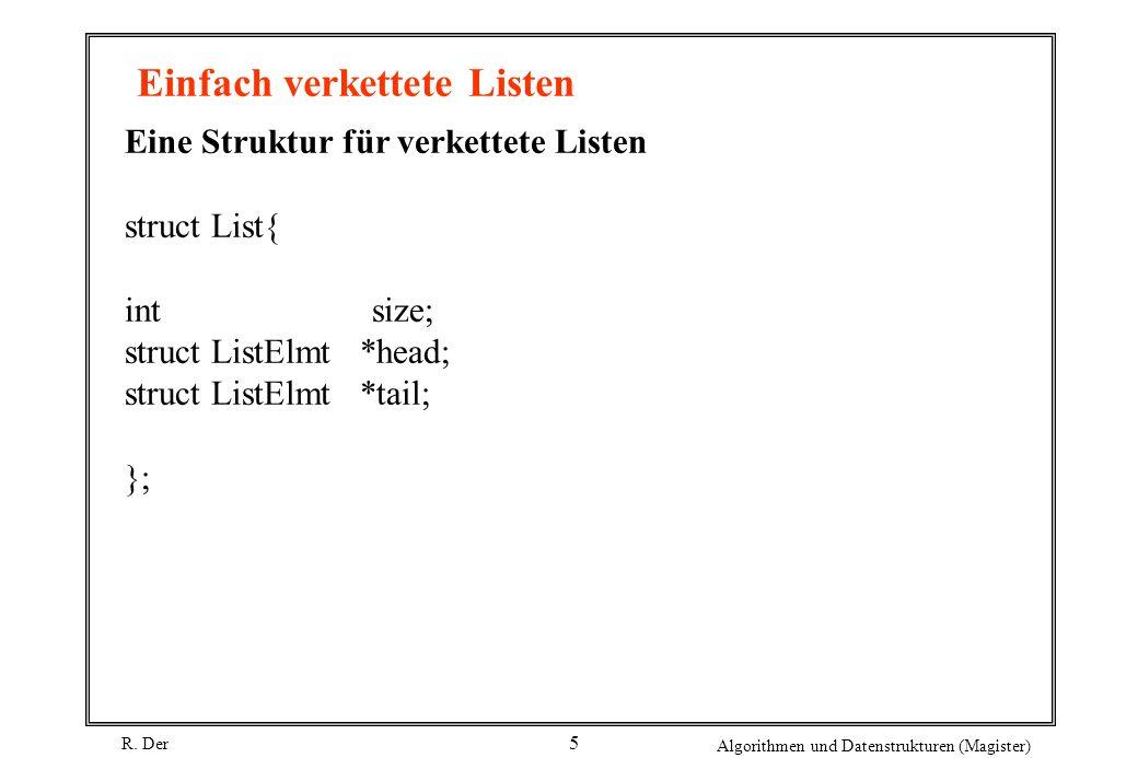 R. Der Algorithmen und Datenstrukturen (Magister) 5 Einfach verkettete Listen Eine Struktur für verkettete Listen struct List{ int size; struct ListEl
