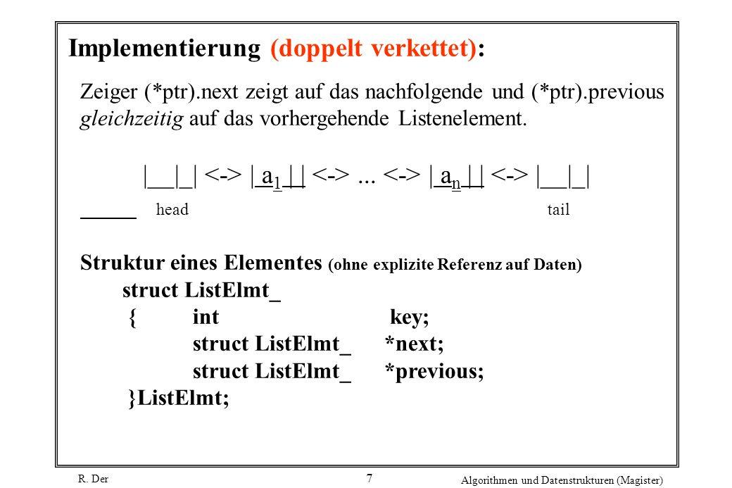 R. Der Algorithmen und Datenstrukturen (Magister) 7 Implementierung (doppelt verkettet): Zeiger (*ptr).next zeigt auf das nachfolgende und (*ptr).prev