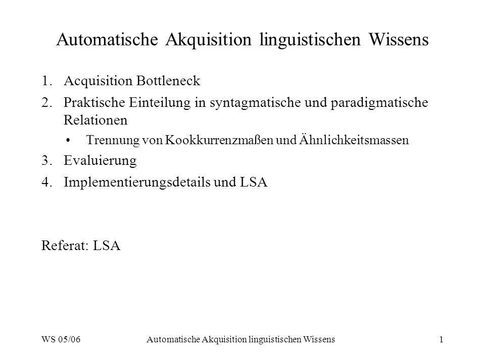 WS 05/06Automatische Akquisition linguistischen Wissens1 1.Acquisition Bottleneck 2.Praktische Einteilung in syntagmatische und paradigmatische Relati