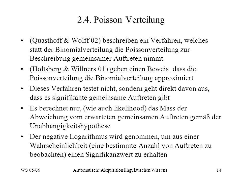 WS 05/06Automatische Akquisition linguistischen Wissens14 2.4. Poisson Verteilung (Quasthoff & Wolff 02) beschreiben ein Verfahren, welches statt der