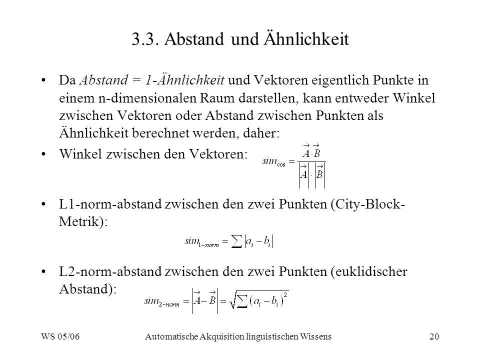 WS 05/06Automatische Akquisition linguistischen Wissens20 3.3. Abstand und Ähnlichkeit Da Abstand = 1-Ähnlichkeit und Vektoren eigentlich Punkte in ei