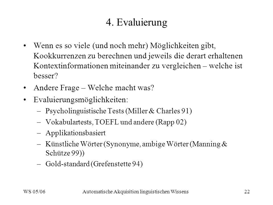 WS 05/06Automatische Akquisition linguistischen Wissens22 4. Evaluierung Wenn es so viele (und noch mehr) Möglichkeiten gibt, Kookkurrenzen zu berechn