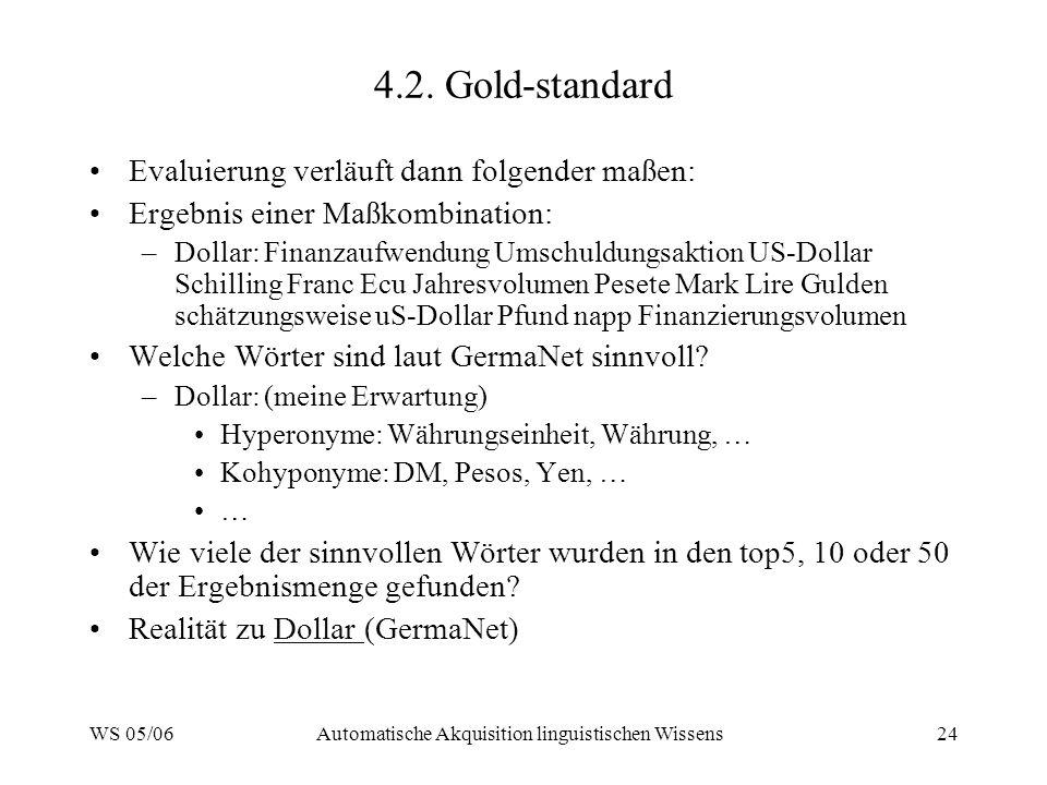 WS 05/06Automatische Akquisition linguistischen Wissens24 4.2. Gold-standard Evaluierung verläuft dann folgender maßen: Ergebnis einer Maßkombination: