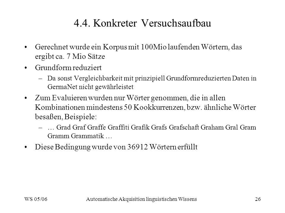 WS 05/06Automatische Akquisition linguistischen Wissens26 4.4. Konkreter Versuchsaufbau Gerechnet wurde ein Korpus mit 100Mio laufenden Wörtern, das e