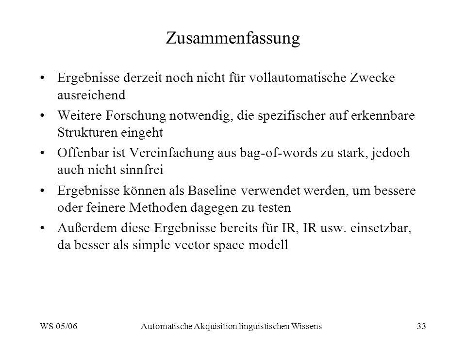 WS 05/06Automatische Akquisition linguistischen Wissens33 Zusammenfassung Ergebnisse derzeit noch nicht für vollautomatische Zwecke ausreichend Weiter