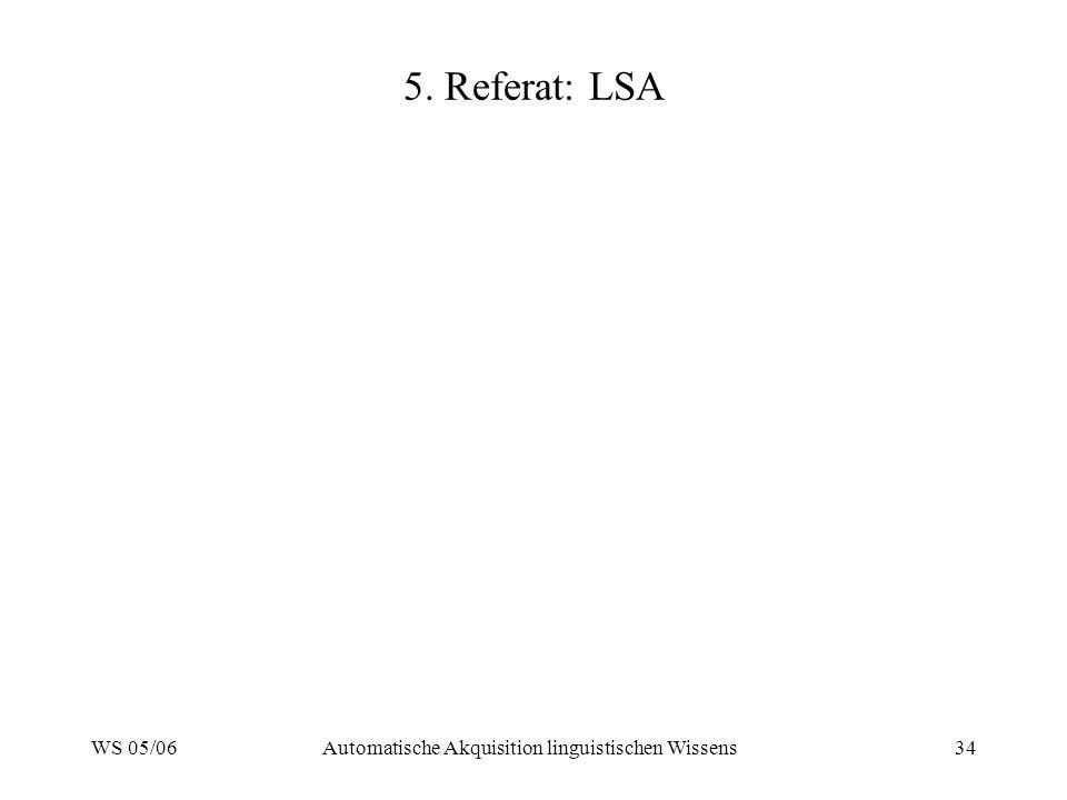 WS 05/06Automatische Akquisition linguistischen Wissens34 5. Referat: LSA