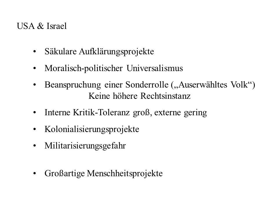 Säkulare Aufklärungsprojekte Moralisch-politischer Universalismus Beanspruchung einer Sonderrolle (Auserwähltes Volk) Keine höhere Rechtsinstanz Inter