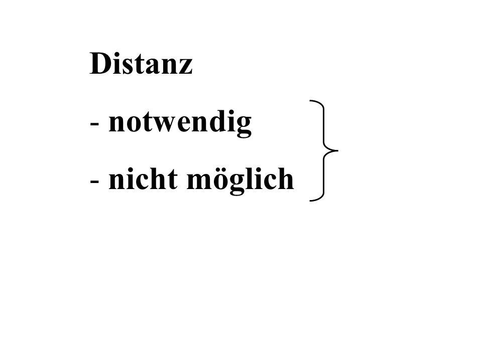 Distanz - notwendig - nicht möglich