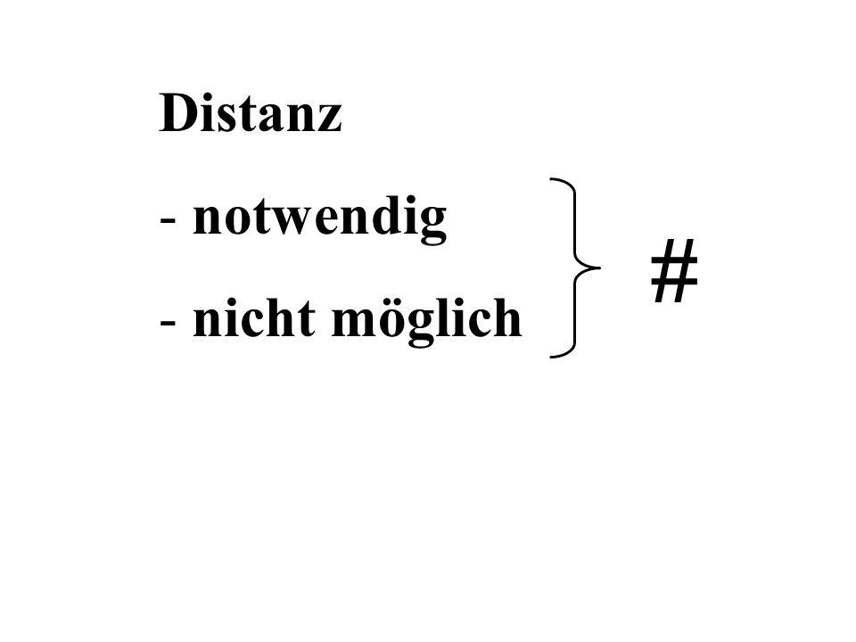 Distanz - notwendig - nicht möglich #