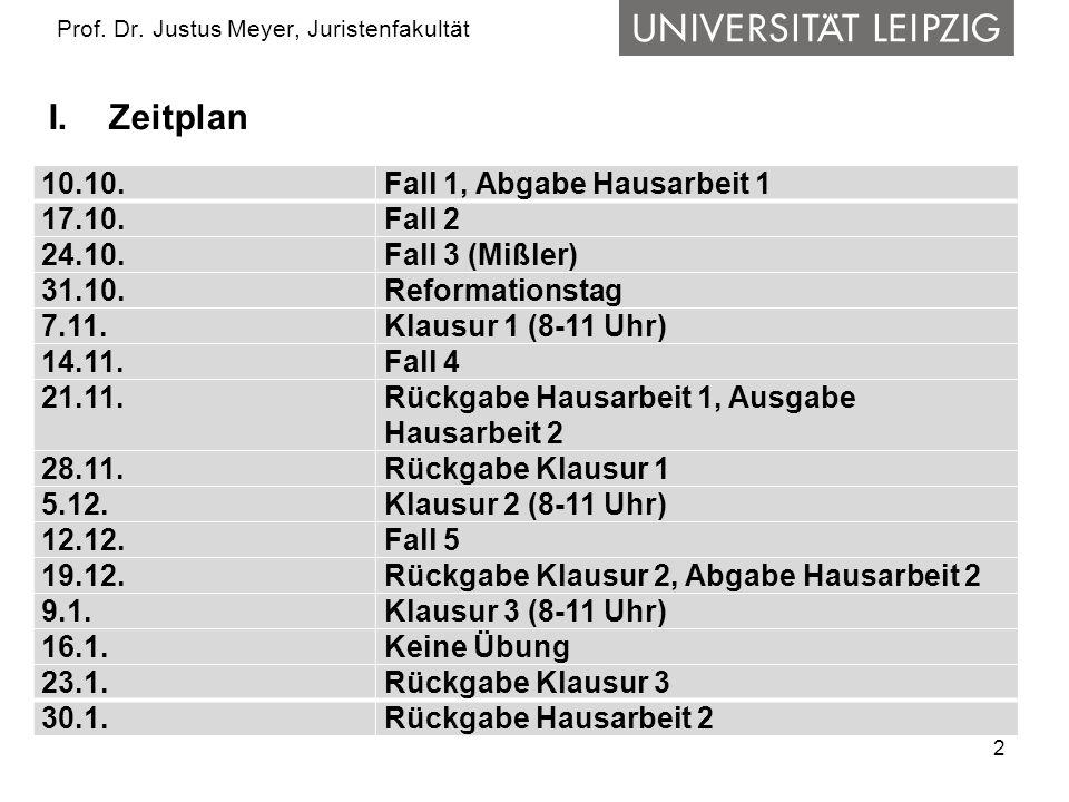 2 Prof. Dr. Justus Meyer, Juristenfakultät I.Zeitplan 10.10.Fall 1, Abgabe Hausarbeit 1 17.10.Fall 2 24.10.Fall 3 (Mißler) 31.10.Reformationstag 7.11.