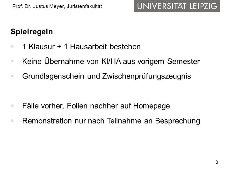 3 Prof. Dr. Justus Meyer, Juristenfakultät Spielregeln 1 Klausur + 1 Hausarbeit bestehen Keine Übernahme von Kl/HA aus vorigem Semester Grundlagensche