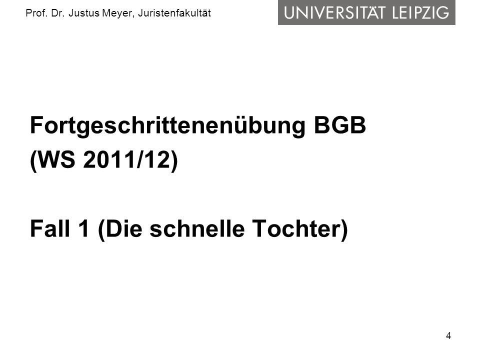 4 Prof. Dr. Justus Meyer, Juristenfakultät Fortgeschrittenenübung BGB (WS 2011/12) Fall 1 (Die schnelle Tochter)