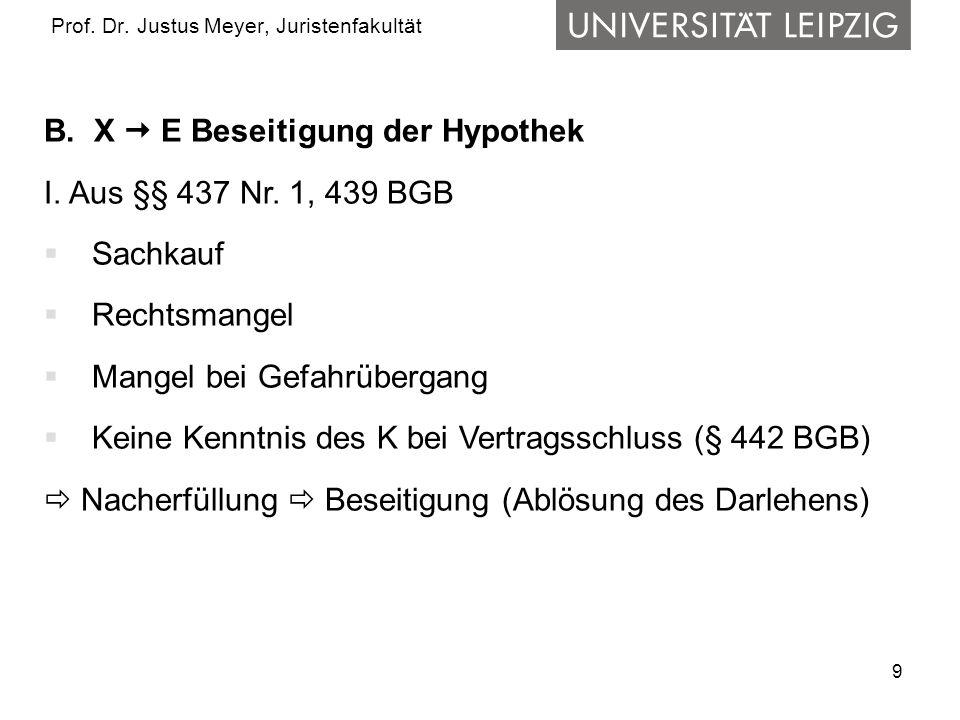 9 Prof. Dr. Justus Meyer, Juristenfakultät B. X E Beseitigung der Hypothek I. Aus §§ 437 Nr. 1, 439 BGB Sachkauf Rechtsmangel Mangel bei Gefahrübergan