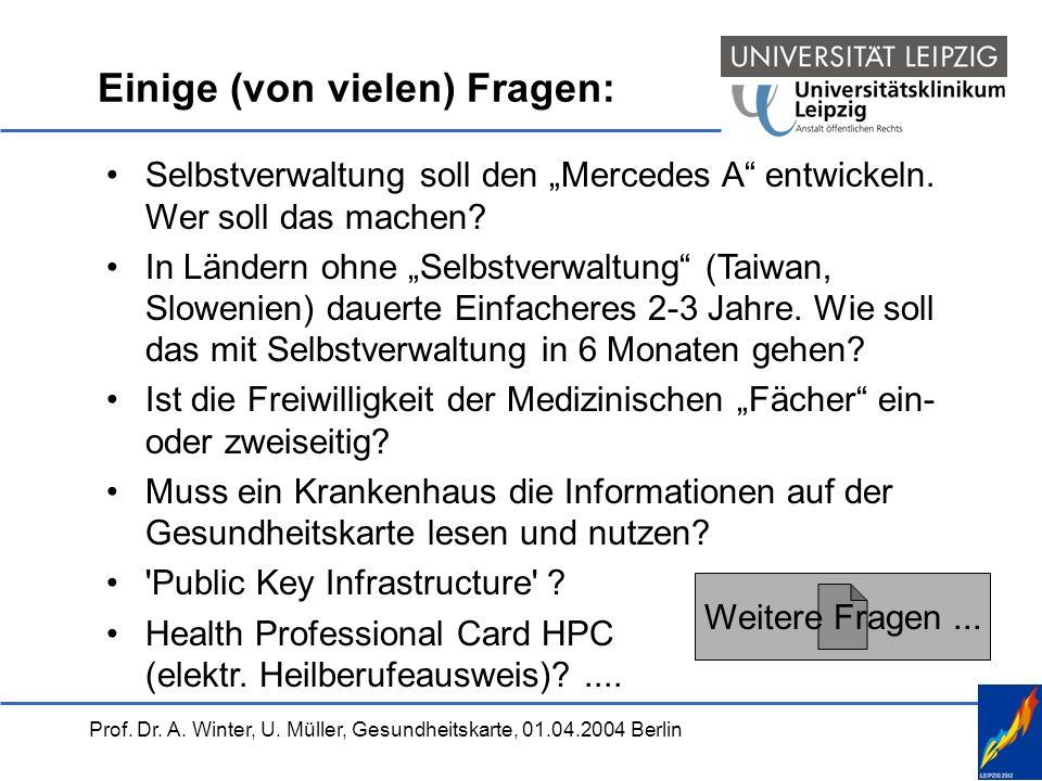 Prof. Dr. A. Winter, U. Müller, Gesundheitskarte, 01.04.2004 Berlin Einige (von vielen) Fragen: Selbstverwaltung soll den Mercedes A entwickeln. Wer s