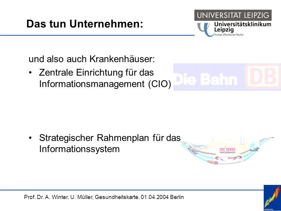 Prof. Dr. A. Winter, U. Müller, Gesundheitskarte, 01.04.2004 Berlin Das tun Unternehmen: und also auch Krankenhäuser: Zentrale Einrichtung für das Inf