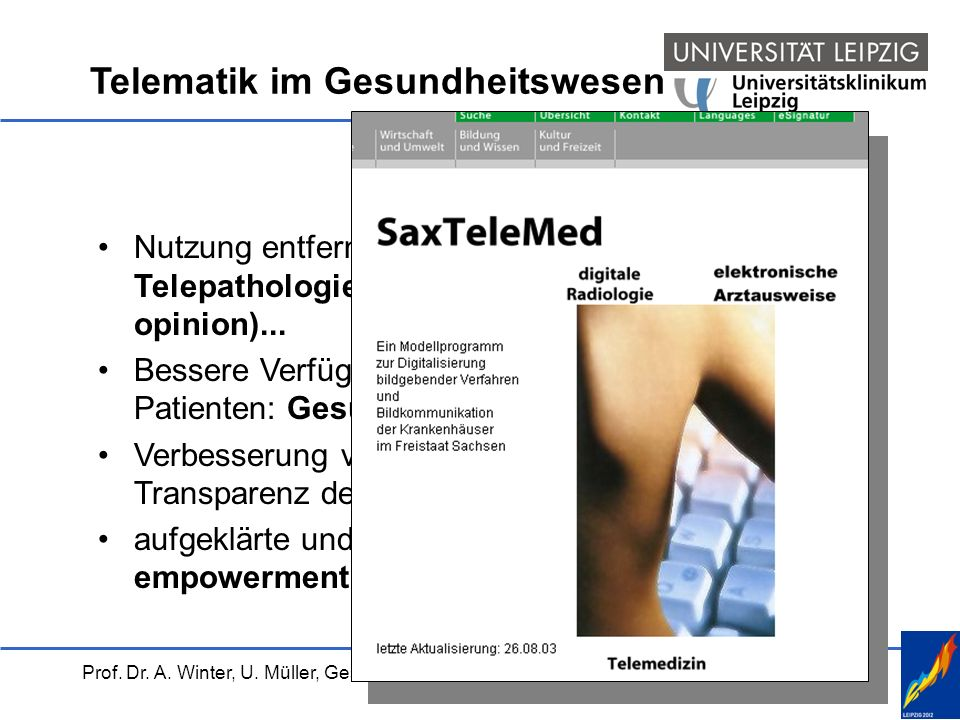 Prof. Dr. A. Winter, U. Müller, Gesundheitskarte, 01.04.2004 Berlin Telematik im Gesundheitswesen Nutzung entfernter Ressourcen: Teleradiologie, Telep