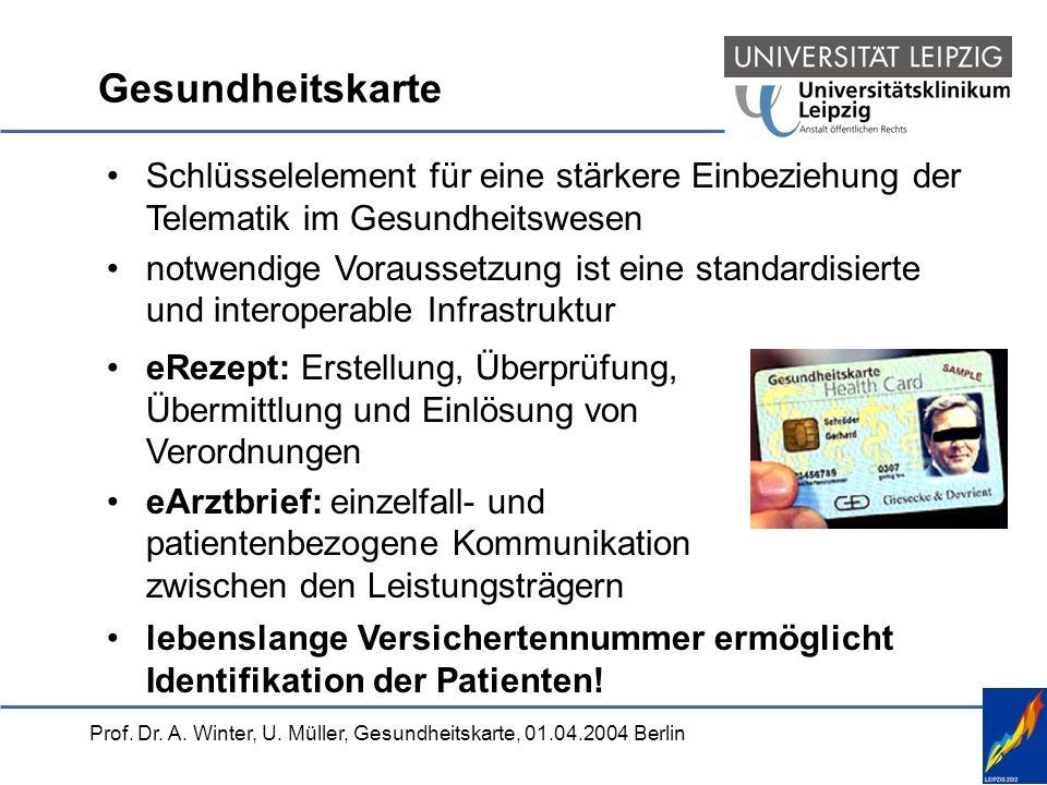 Prof. Dr. A. Winter, U. Müller, Gesundheitskarte, 01.04.2004 Berlin Gesundheitskarte Schlüsselelement für eine stärkere Einbeziehung der Telematik im