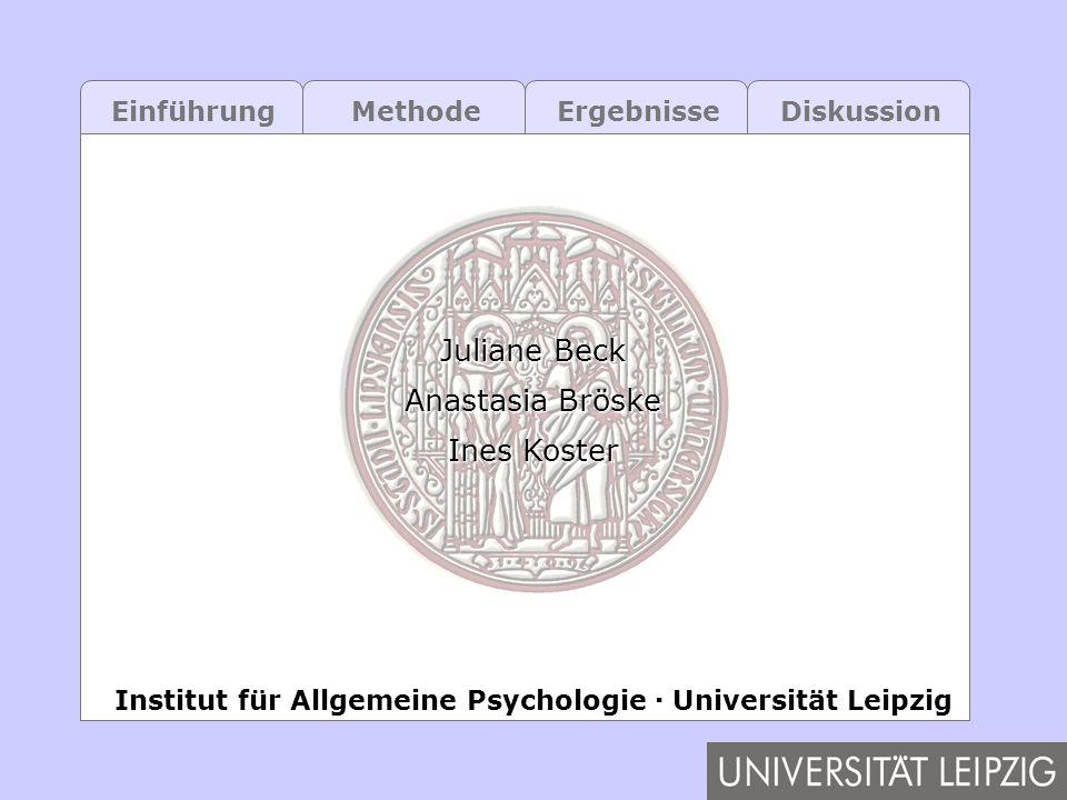 EinführungMethodeErgebnisseDiskussion Juliane Beck Anastasia Bröske Ines Koster Institut für Allgemeine Psychologie Universität Leipzig