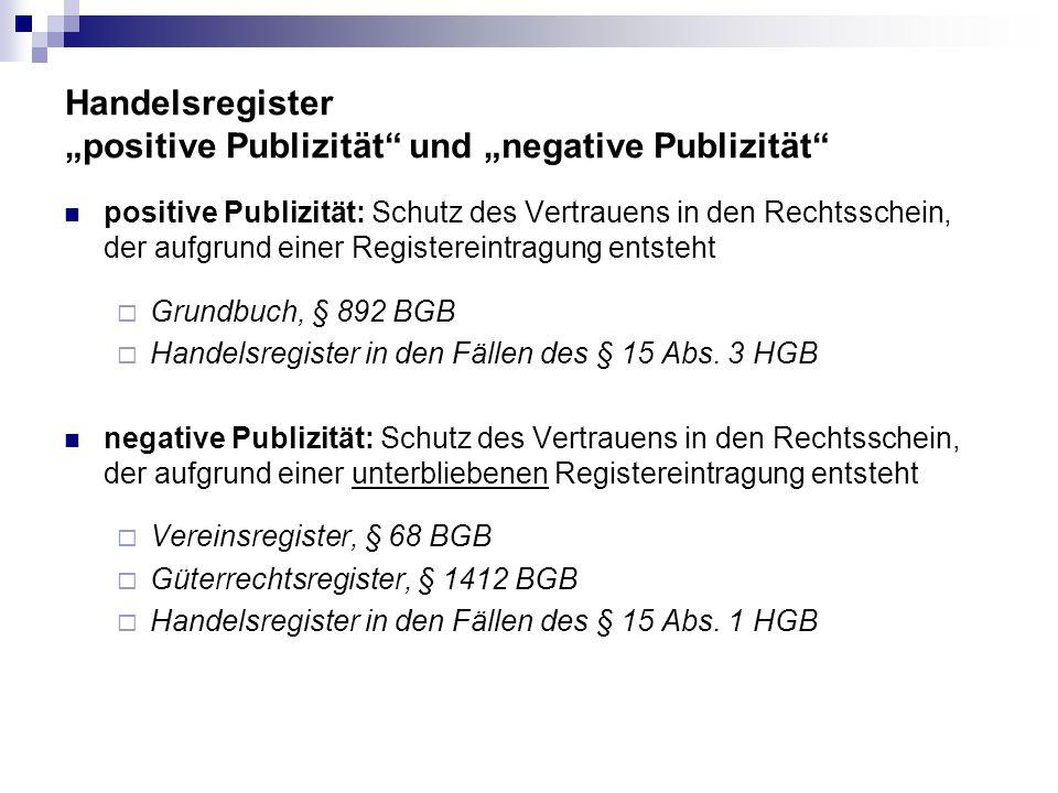 Handelsregister positive Publizität und negative Publizität positive Publizität: Schutz des Vertrauens in den Rechtsschein, der aufgrund einer Registe