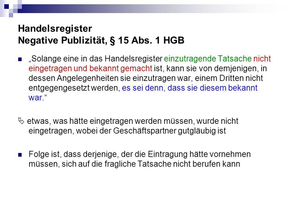 Handelsregister Negative Publizität, § 15 Abs. 1 HGB Solange eine in das Handelsregister einzutragende Tatsache nicht eingetragen und bekannt gemacht
