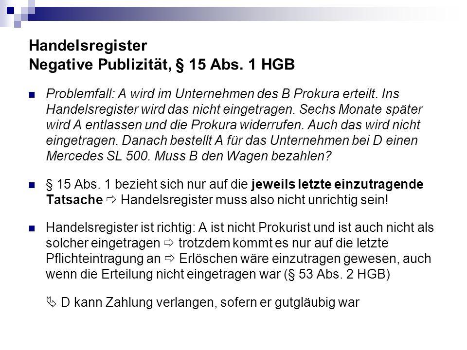Handelsregister Negative Publizität, § 15 Abs. 1 HGB Problemfall: A wird im Unternehmen des B Prokura erteilt. Ins Handelsregister wird das nicht eing