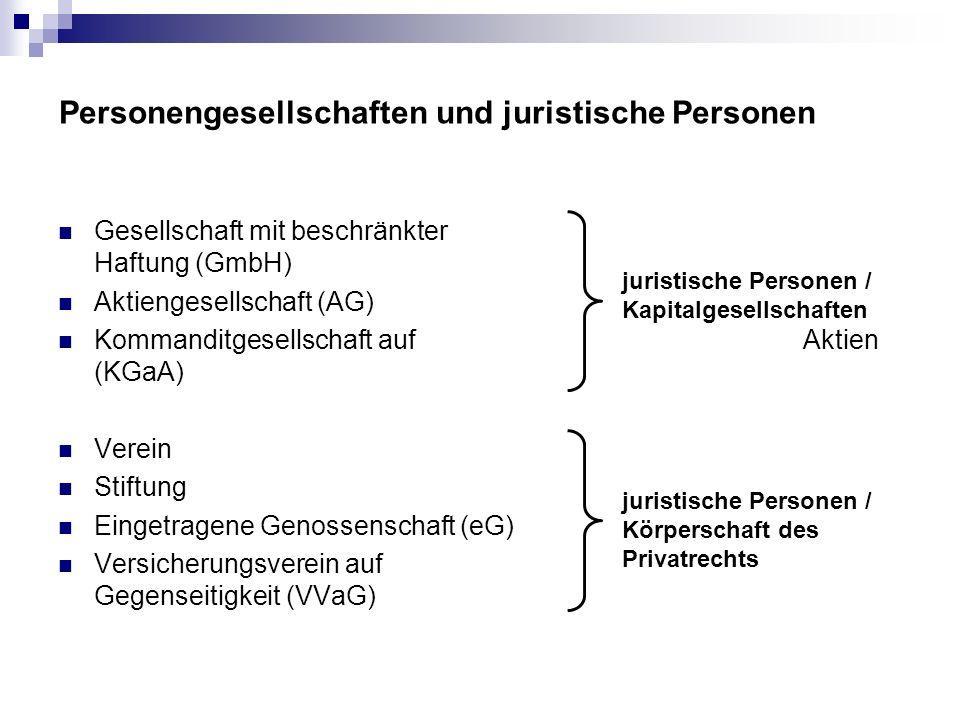 Personengesellschaften und juristische Personen Gesellschaft mit beschränkter Haftung (GmbH) Aktiengesellschaft (AG) Kommanditgesellschaft auf Aktien
