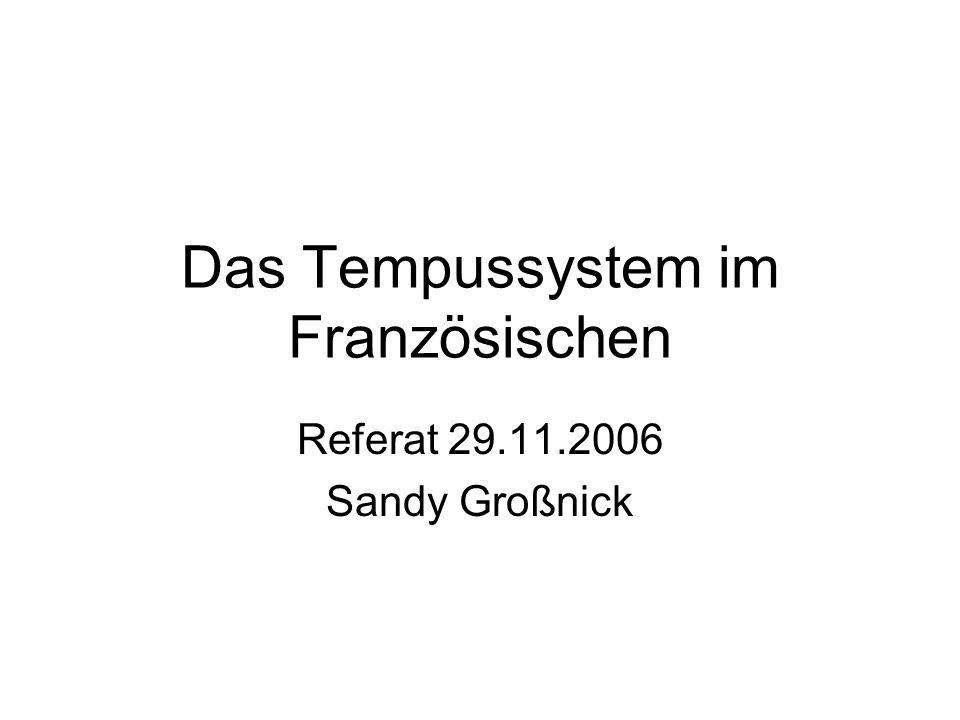 Das Tempussystem im Französischen Referat 29.11.2006 Sandy Großnick